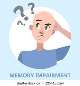 Memory loss concept. Man with mental health problem. Guy with amnesia. Isolated vector flat illustration