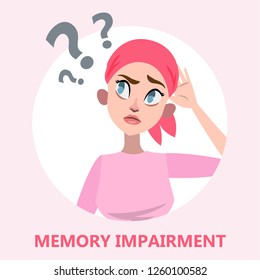 Memory loss concept. Woman with mental health problem. Girl with amnesia. Isolated vector flat illustration