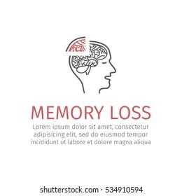 Memory loss line icon. Vector illustration.