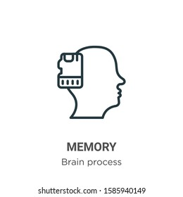 Memory outline vector icon. Thin line black memory icon, flat vector simple element illustration from editable brain process concept isolated on white background