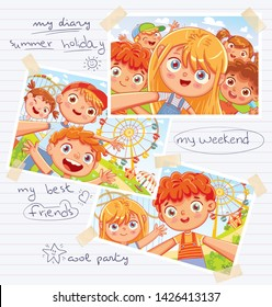 Memory page from a children's diary with pasted photos, handwritten notes and kids drawings. Photos in Album randomly scattered. Page layout template for your design. Advertising poster