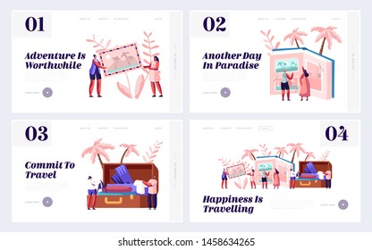 Memory, Photography, Trip Website Landing Page Set, Young People After Vacation Watching Photo Album, Take Out Clothes and Souvenirs from Suitcase, Web Page. Cartoon Flat Vector Illustration, Banner