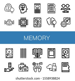 memory simple icons set. Contains such icons as Brain, Knowledge, Cpu, Sticks, Hard disk, Sd card, Camera bag, Solid state drive, Flash drive, can be used for web, mobile and logo