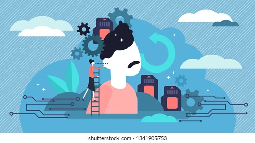 Memory vector illustration. Flat tiny symbolic brain growth persons concept. Intelligence education, abstract mental knowledge memo cards. Using information encoded, stored, and retrieved when needed.