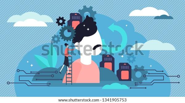 メモリのベクター画像イラスト。頭脳成長者の平らな象徴的なコンセプト。インテリジェンス教育、抽象的な知的知識メモカード。必要に応じて、エンコード、保存、取得された情報を使用します。