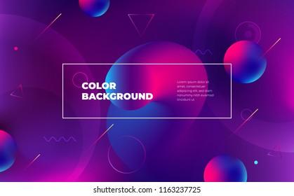 Memphis abstract color background design. Fluid gradient shapes composition. Eps10 vector.