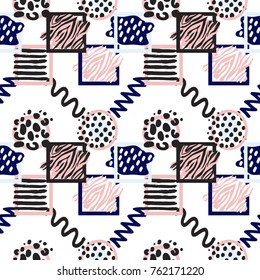 Memphis abstract seamless pattern with animalistic stripped and dotted circle and square frames, zig-zag and wave lines. Hipster vintage 80s-90s banner design. Geometric vector background.