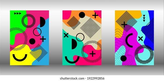 Memphis background set covers. Colorful trendy illustration.  Brochure creative design. Creative vector banner illustration.