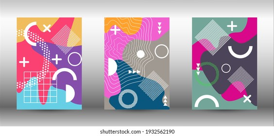 Memphis background set covers. Colorful trendy illustration. Abstract elegant background. Creative vector banner illustration.