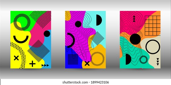 Memphis background set covers. Trendy abstract vector illustration. Abstract elegant background. Creative vector banner illustration. - Shutterstock ID 1899423106