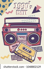 Memphis card with geometric elements and retro illustrations. vector banner in trendy 80s-90s memphis style. cover design, advertising, poster and greeting card. graphic tee and printed tee