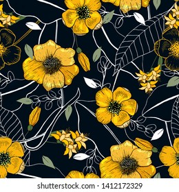 Memphis colorful template on dark background. Hand drawn leaf and yellow flower texture. Seamless floral pattern. Vector tropical geometric print