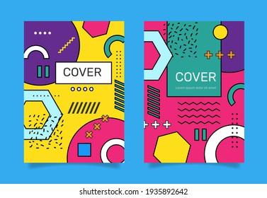 Memphis design cover collection . - Vector.