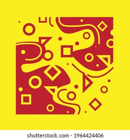 memphis design with red and yellow color