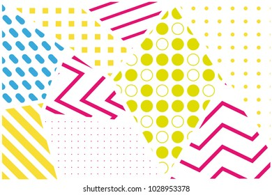 Memphis design stylish background. Abstract geometric colorful elements