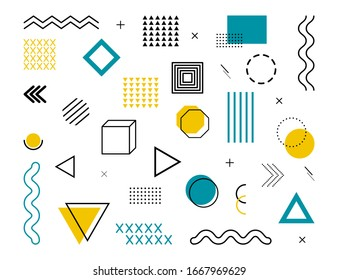 Memphis geometric abstract background. Modern, hipster pattern with geometric figures, halftone dots, graphic lines for tissue, wallpapers and postcards. Blue and golden colors. Style 80s, 90s. Vector