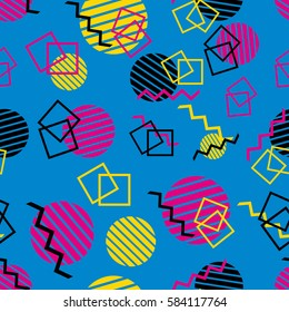 Memphis geometrical seamless pattern 80's - 90's style background