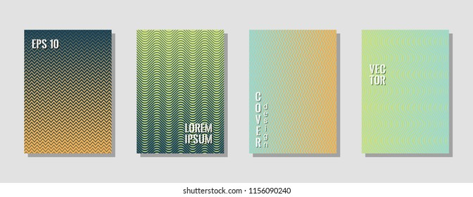 Memphis green zig zag banner templates, wavy lines gradient stripes backgrounds for business cover. Curve shapes stripes, zig zag edge lines halftone texture gradient flyers collection.