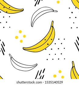 Memphis hand drawn bananas seamless pattern for print, textile, wallpaper. Kids decorative fruits background.