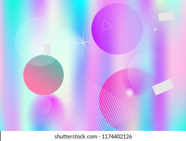 Memphis holographic simple vector background. Horizontal gradient hipster color overlay. Corporate identity geometric minimal holograph pattern. Chaotic bauhaus funky falling memphis wallpaper.