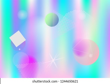 Memphis holographic vector business background. Horizontal fairy-tale gradient color overlay. Geometric abstract corporate identity holograph pattern. Chaotic bauhaus funky falling memphis wallpaper.