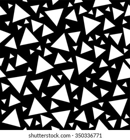 Memphis Milano style pattern with random triangles, geometric background in black and white