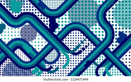 Abstract Background With Color Lines And Different Elements For Textile Or Wallpaper