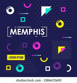 Memphis pattern of geometric shapes for greeting card or postcards. Hipster poster, juicy, bright color background.