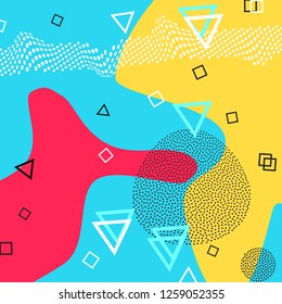 Memphis pattern of geometric shapes for tissue and postcards. Vector Illustration. Hipster style. Abstract colorful funky background.