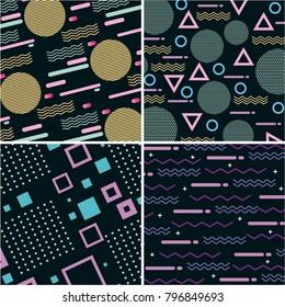 memphis pattern retro set geometric design