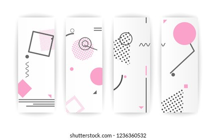 Memphis Pink abstract design geometric pattern background elements composition.leaflet, billboard, poster.