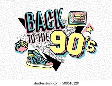 Memphis poster, card or invitation with geometric elements, sneakers and tape cassette. Back to the 90's. Vector illustration in trendy 80s-90s memphis style.