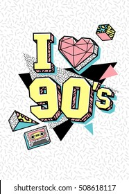 Memphis poster, card or invitation with triangle heart, geometric elements and tape cassette. I love 90's. Vector illustration in trendy 80s-90s memphis style.