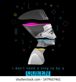 Memphis poster, cover, banner, invitation with Nefertiti, Cleopatra queen in trendy style for music party, travel concept, t-shirt print. Ancient Egyptian vector illustration on black background