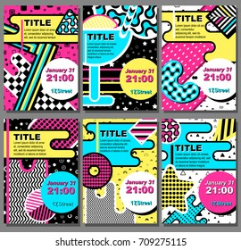 Memphis posters set , card background with simple geometric elements, patterns fashion trend 80-90s. Vector.
