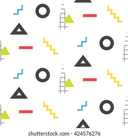 Memphis retro 80s seamless pattern. Checkered lines, abstract shapes, color blocks and dash dots elements in eighties fashion style. Zigzag lines and triangles on white.