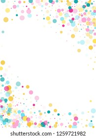 Memphis round confetti flying background in blue, magenta and yellow on white.  Childish pattern vector, children's party birthday celebration background.  Holiday confetti circles in memphis style.