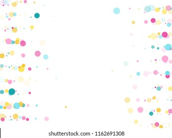Memphis round confetti vintage background in blue, magenta and gold on white.  Childish pattern vector, children's party birthday celebration background.  Holiday confetti circles in memphis style.