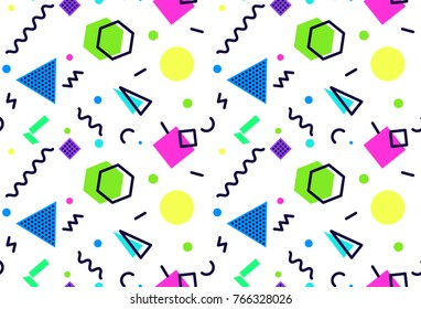 Memphis seamless pattern 80's-90's styles on white background. Trendy memphis style. . Vector Illustration