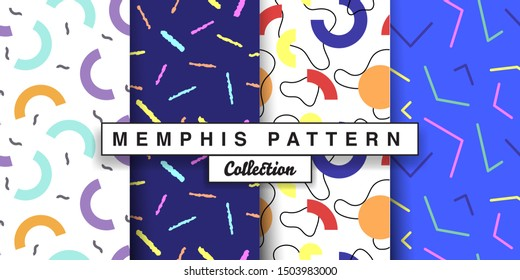 Memphis seamless pattern abstract elements for fashion, wallpapers, wrapping, print design. Colorful Background set in trendy 80s-90s memphis style.