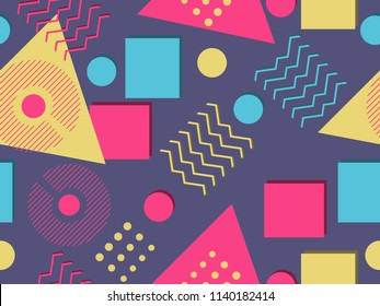 Memphis seamless pattern. Geometric elements memphis in the style of 80's. Synthwave retro background. Retrowave. Vector illustration