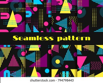 Memphis seamless pattern set. Geometric elements memphis in the style of 80's. Vector illustration