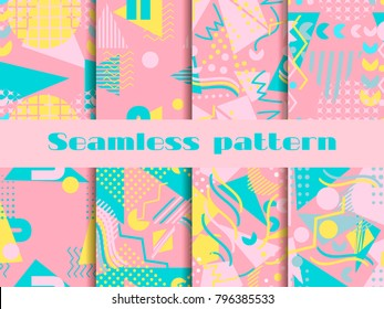 Memphis seamless pattern set. Geometric elements memphis in the style of 80's. Pastel colors. Vector illustration