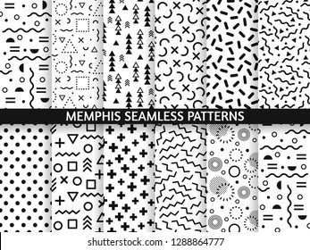 Memphis seamless patterns. Funky pattern, retro fashion 80s and 90s print pattern texture. Geometric graphics style textures. Abstract memphis decoration fabric vector set