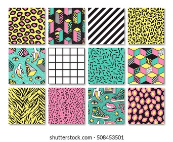 Memphis seamless patterns with geometric, animals, grid, striped and other elements for fashion, wallpapers, wrapping, etc. Background set in trendy 80s-90s memphis style.