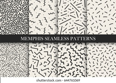 Memphis seamless patterns - vector swatches collection. Retro design - fashion style 80-90s.