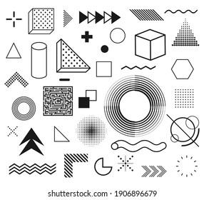 Memphis, set of abstract geometric shapes. Retro elements for web, vintage, advertisement, commercial banner, billboard, sale, poster, leaflet. Vector illustration. Eps 10.