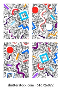 Memphis set of backgrounds with geometric colored figures with a white shadow on a noisy background in the style of the 80's, size A4