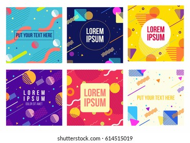Memphis style 6 cards. Collection of templates with geometric shapes, patterns in trendy memphis fashion 80-90s. Perfect for ad, invitation, presentation and more. Isolated. Vector.
