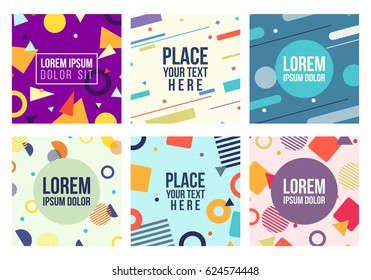 Memphis style 6 cards set. Templates with patterns, geometric shapes  in trendy memphis fashion 80-90s. Perfect for ad, presentation and more. Isolated. Vector.